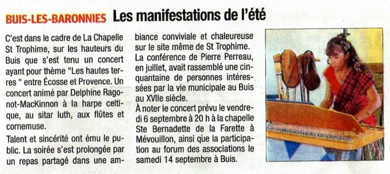 Concert à St Trophime Musique des Hautes Terres