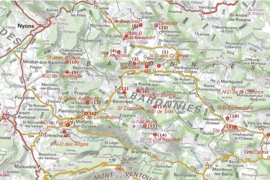 Carte des chapelles en Baronnies
